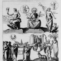Mythologie, Paris, 1627 - II. Figure, Qui est comme un Abbregé de ce qui touche les Statües & les Medailles de Jupiter, p. 72